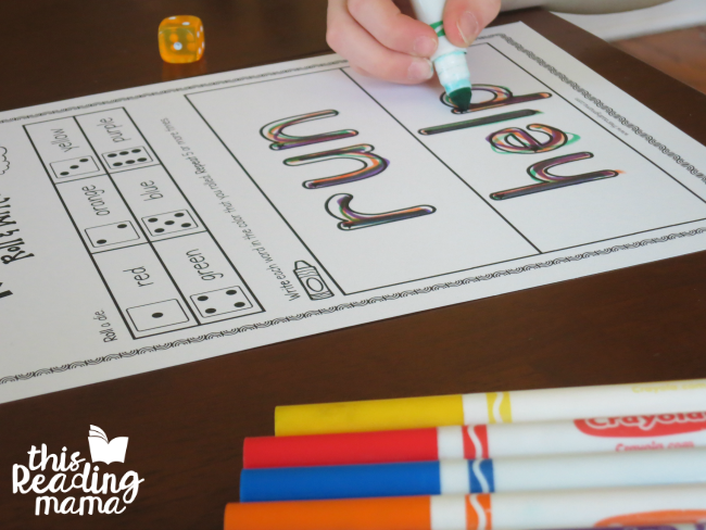 sight word rainbow writing page for run and help