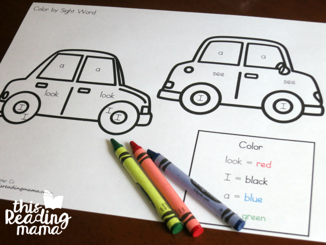 Sight Word Coloring Pages from Reading the Alphabet - This Reading Mama