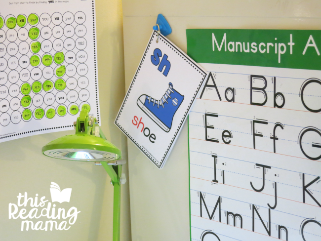 Beginning Digraph Cards hung at desk of learner for support of sounds
