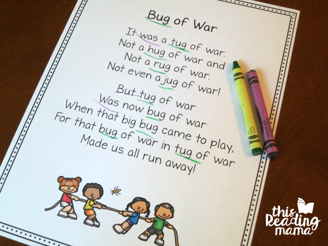 Bug or War - UG Word Family Poem by Becky Spence