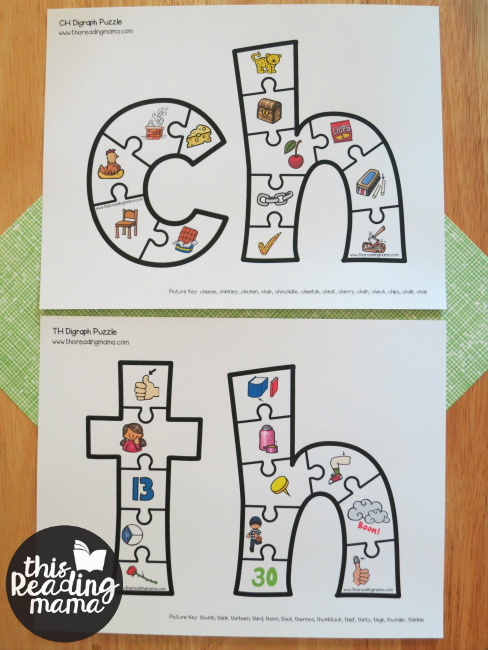 CH and TH Printable Digraph Puzzles with phonics pictures