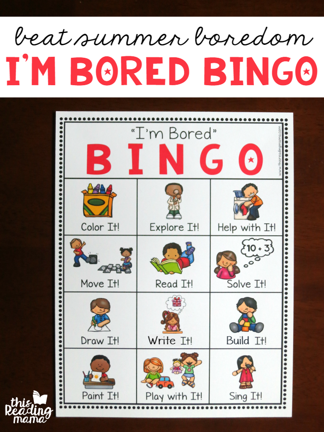 I'm Bored BINGO Chart for Kids