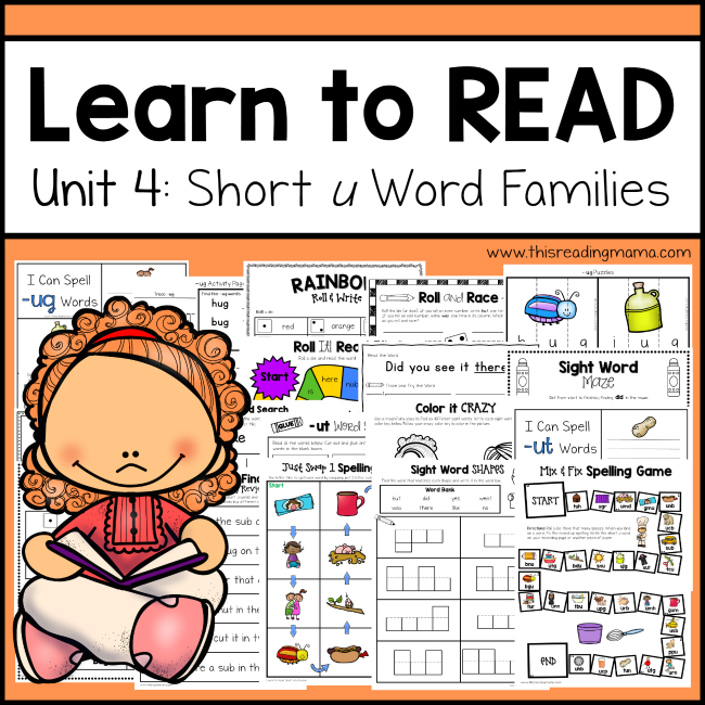 4 pics 1 word family reading learn to read u word families unit 4 this 26975 | Learn to Read Unit 4 Short u Word Families This Reading Mama