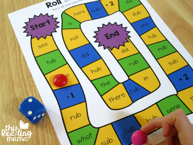 Roll It Read It Game to review - from UB lesson of Learn to Read