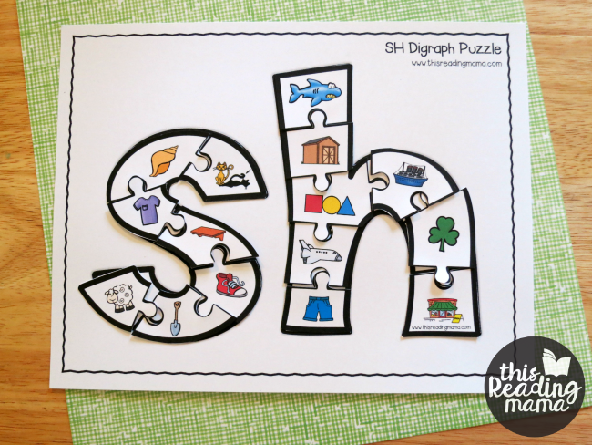 SH printable digraph puzzle with phonics pictures