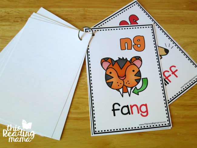 Smaller Ending Digraph Cards flip book