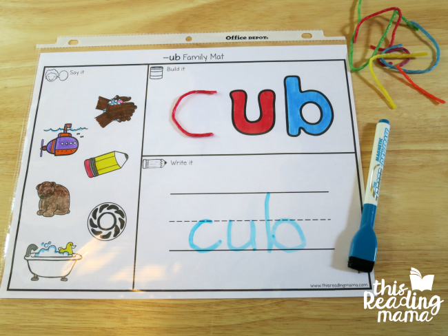 UB word family mat with Wikki Stix