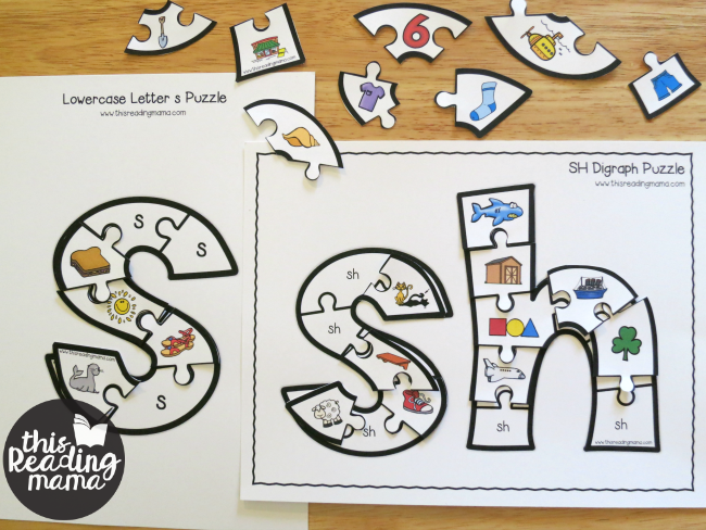 alphabet puzzle and digraph puzzle - sorting pieces by beginning sounds