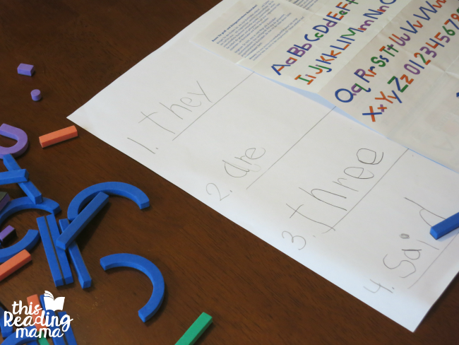building sight words from Learn to Read with Magnetic Letter Construction Kit