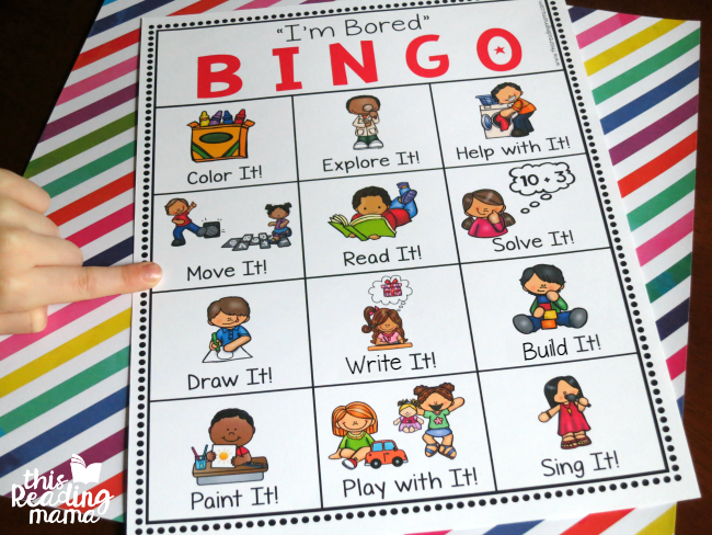choosing an activity from I'm Bored BINGO - This Reading Mama