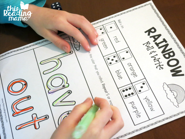 rainbow roll and write for the sight words have and out - lesson 12 of Learn to Read