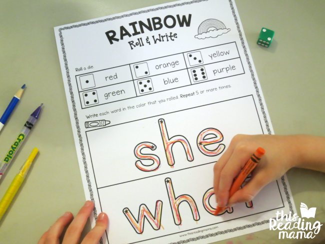 rainbow roll and write the sight words she and what from Learn to Read