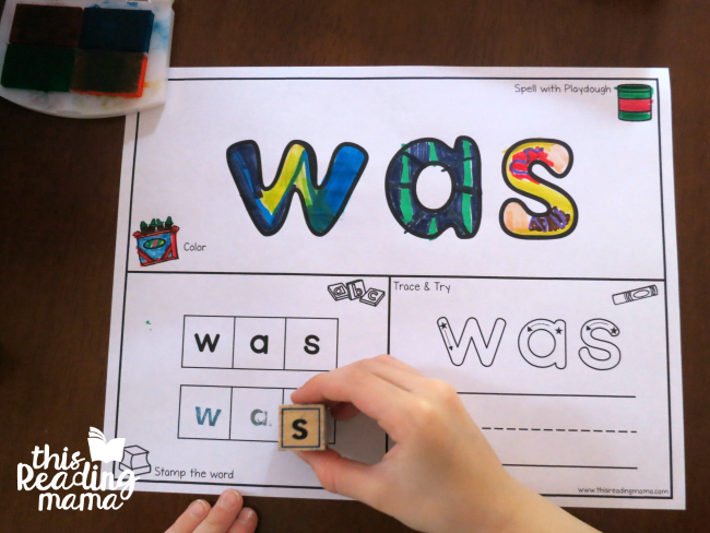 sight word activity mat for was - from Learn to Read lesson 13