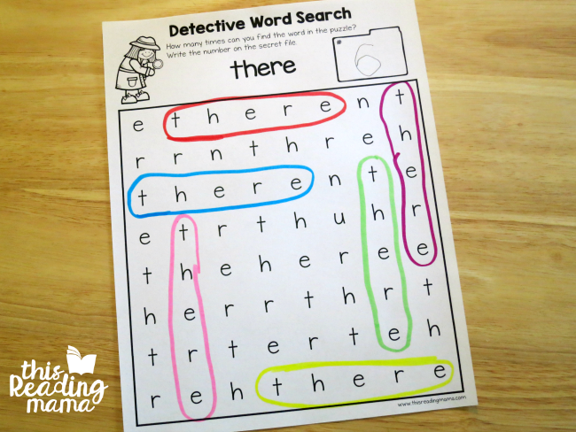 sight word search with there from Learn to Read