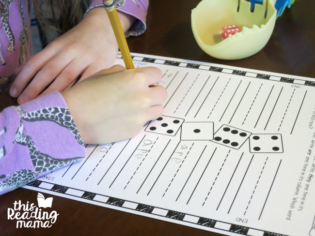 sight word spelling practice with roll and race