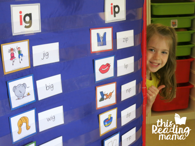 sorting IG and IP word family pictures and words in pocket chart