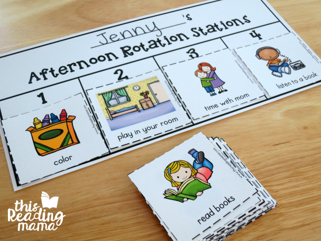 Afternoon Rotation Stations - 1 child - 4 activities chart example