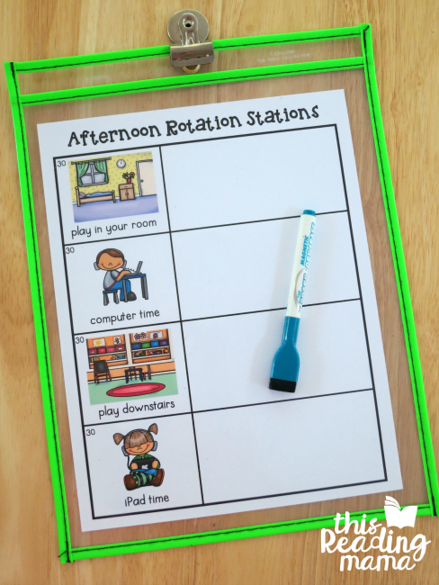 Afternoon Rotation Stations Chart - write 1 name in each slot on the right side of the chart