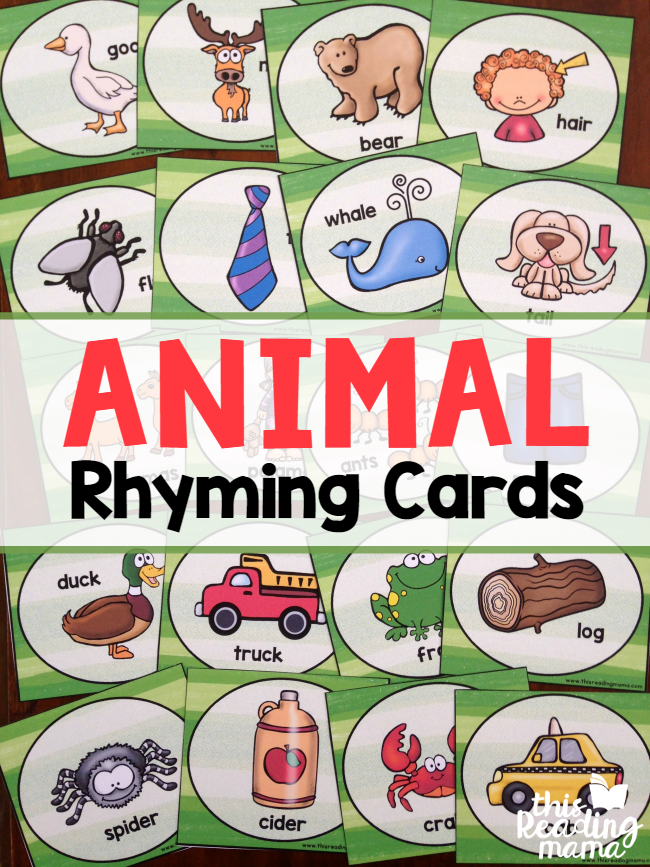 Animal Rhyming Cards - fun to sing with Down by the Bay - This Reading Mama