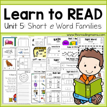 Learn to Read tpt - Unit 5- Short e Word Families-This Reading Mama