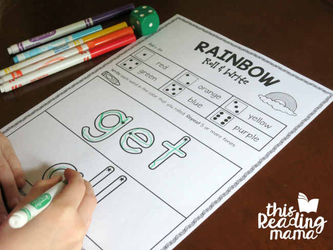 Rainbow Roll and Write Sight Words from Lesson 17 of Learn to Read
