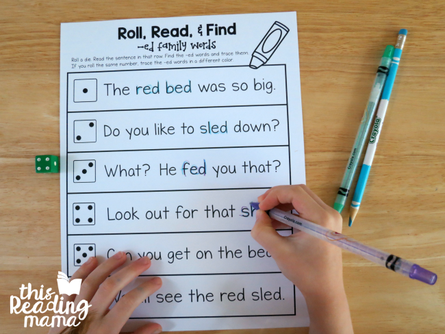 Roll Read and Find - ED Word Family - Learn to Read