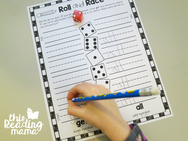 Roll and Race sight words - from Learn to Read Lesson 17