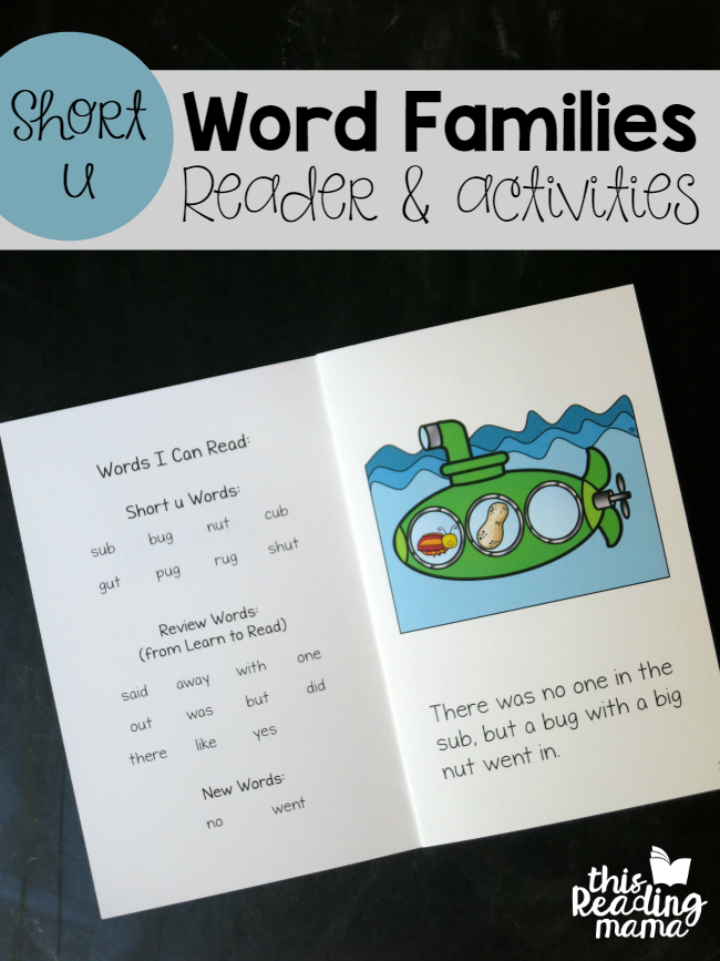 Short u Word Families - Reader and Activities - This Reading Mama