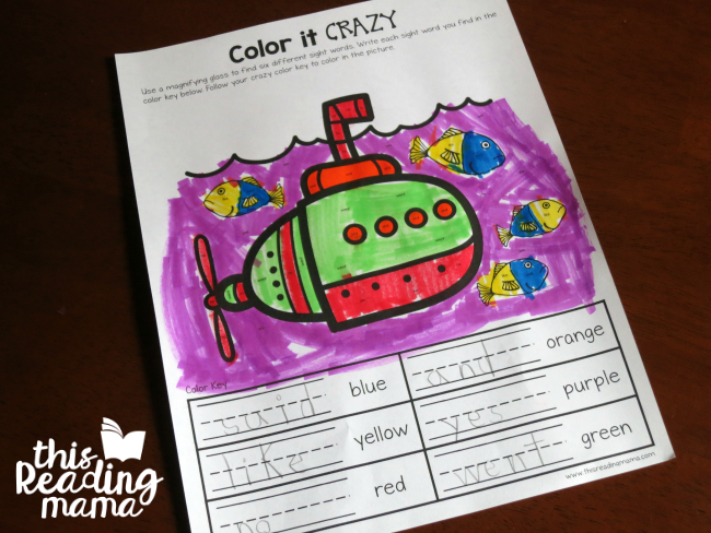 Sight Word Color it Crazy for Lesson 16 of Learn to Read
