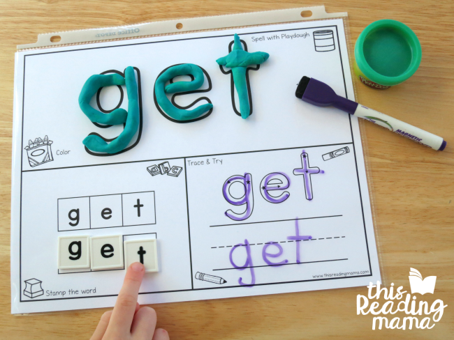 Sight Word Playdough mat for GET