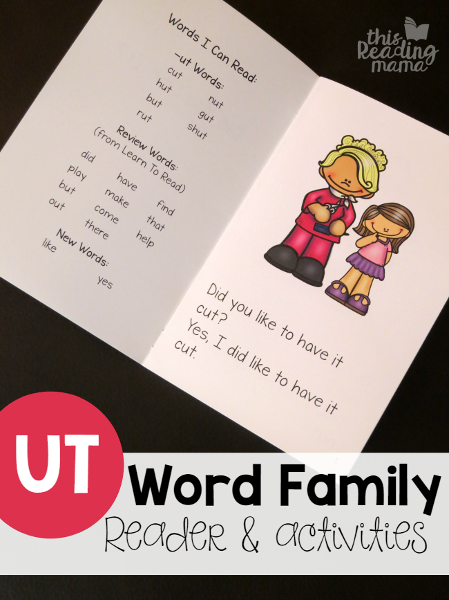 UT Word Family Reader & Activities from Learn to Read {FREE} - This Reading Mama