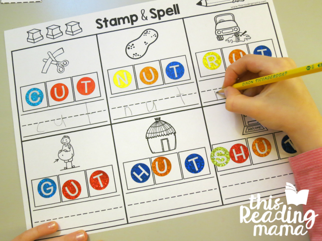 UT word family stamp and spell with stickers