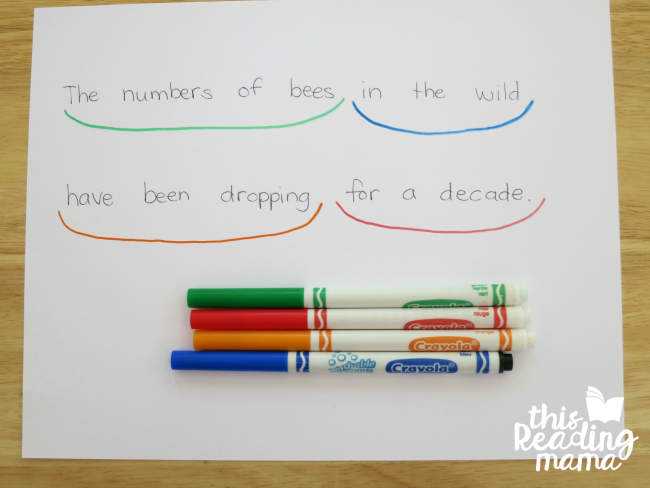 draw scooping phrases to show readers how to read with fluency