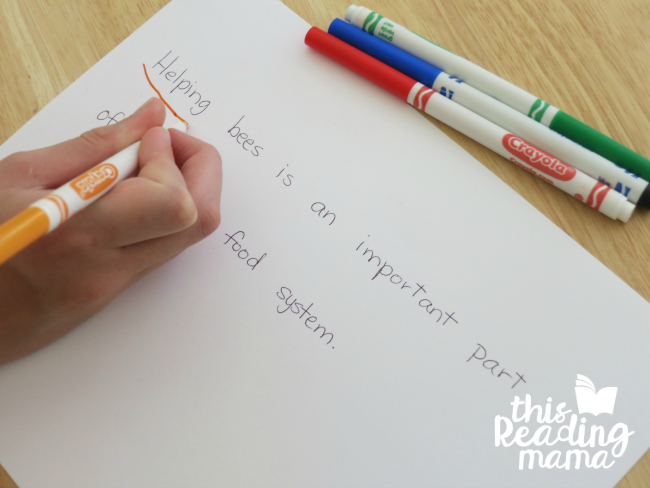 learner draws his own scooping phrases to practice reading fluency