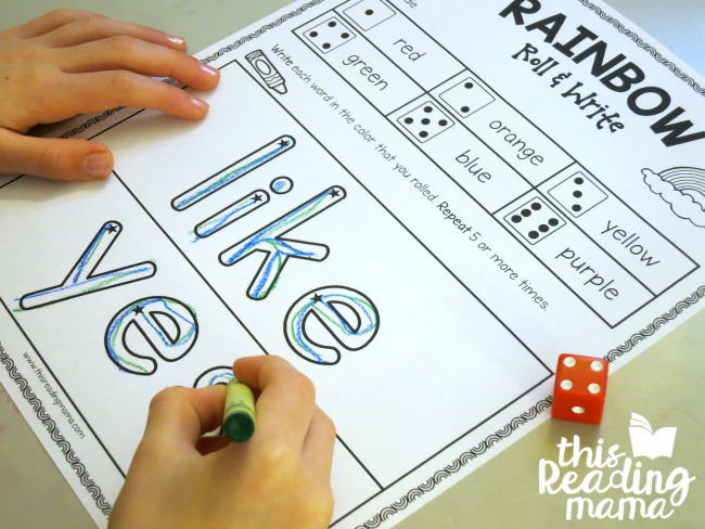 like and yes sight words - Rainbow Roll and Write