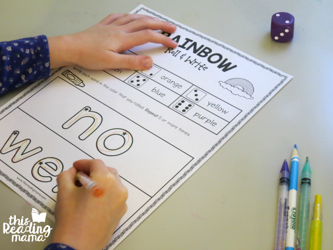 rainbow roll and write sight words - no and went