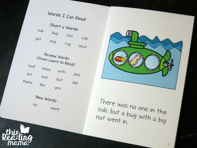 short u word families reader from Learn to Read