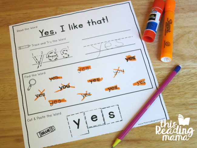 sight word activity page for yes from Learn to Read