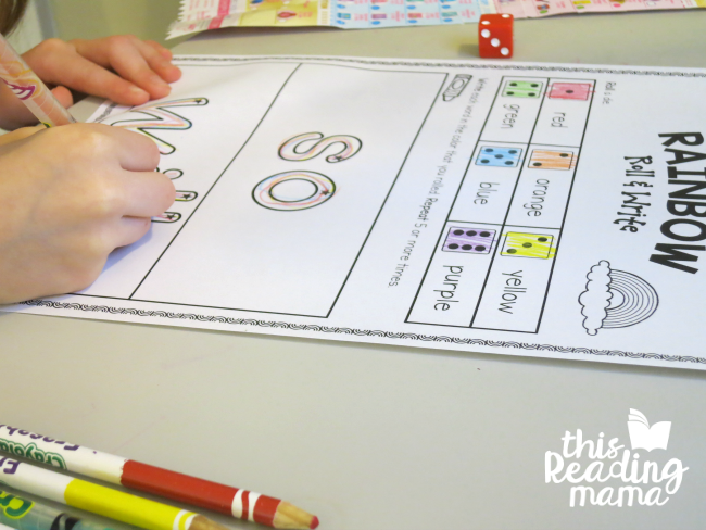 sight word rainbow roll and write from Lesson 18 of Learn to Read