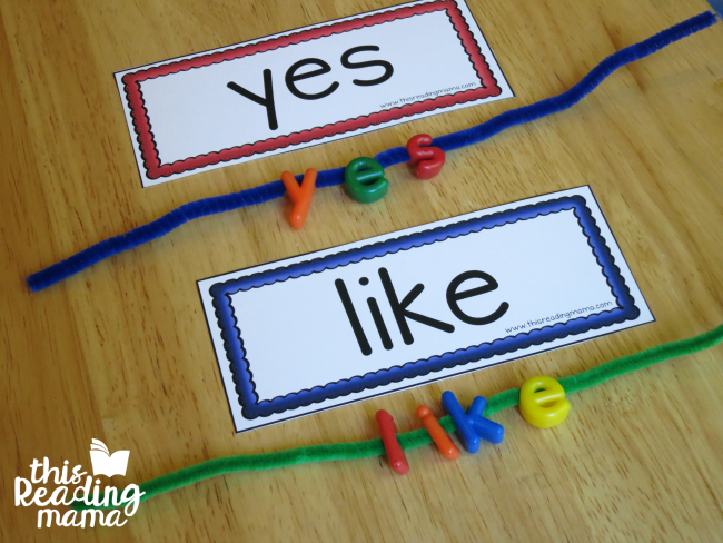 spelling sight words with lowercase letter lacing beads and pipe cleaner