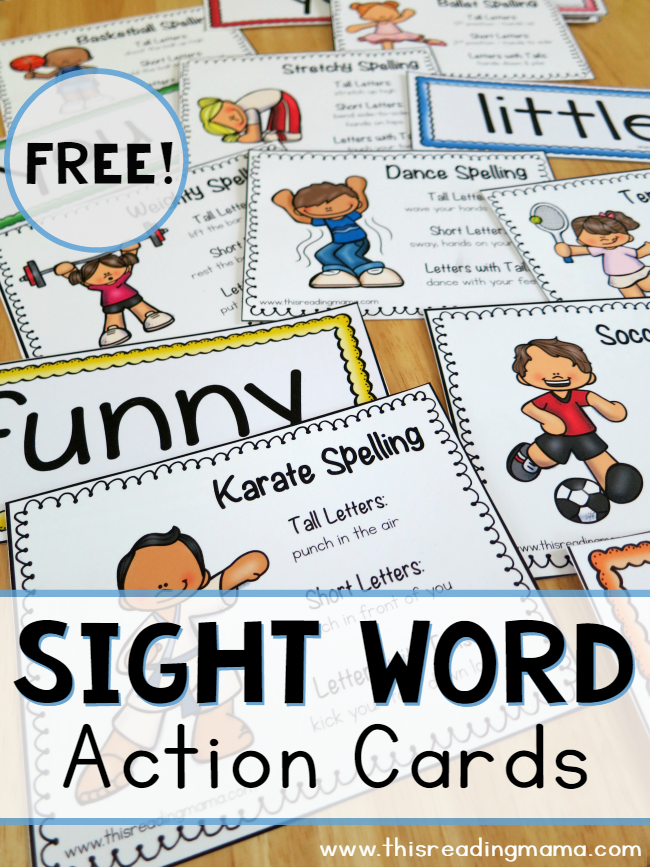 FREE Sight Word Action Cards - using the shape of words - This Reading Mama