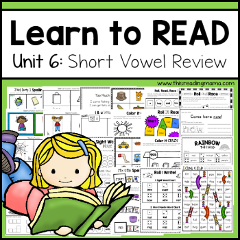 Learn to Read Short Vowel Review {Unit 6} 350 - This Reading Mama