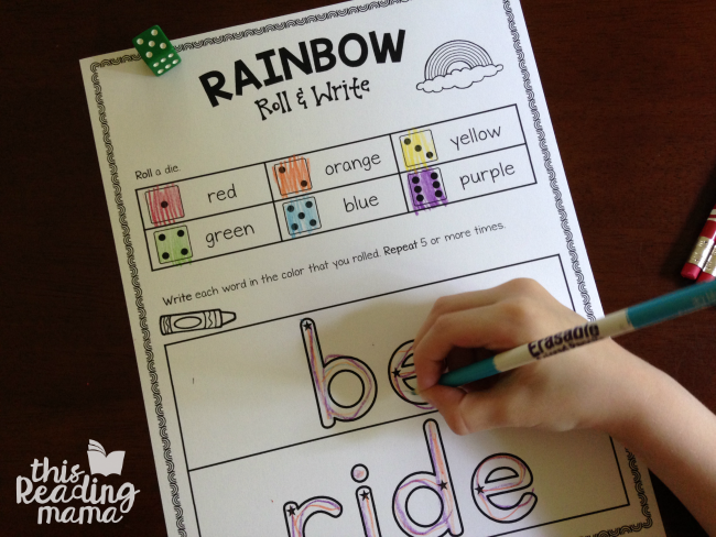 Rainbow Roll and Write sight words for Lesson 20 of Learn to Read