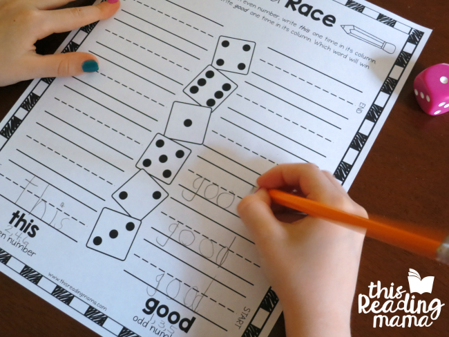 Roll and Race sight words game from Learn to Read