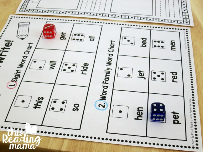 rolling dice and placing them in the sight word and word family charts