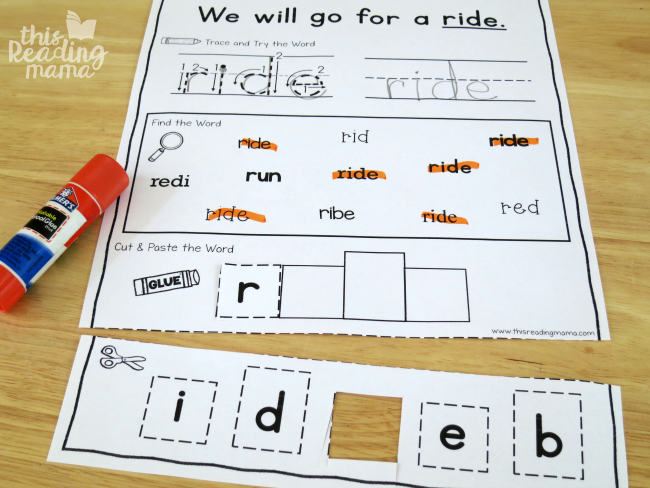 sight word activity page - ride - from Learn to Read
