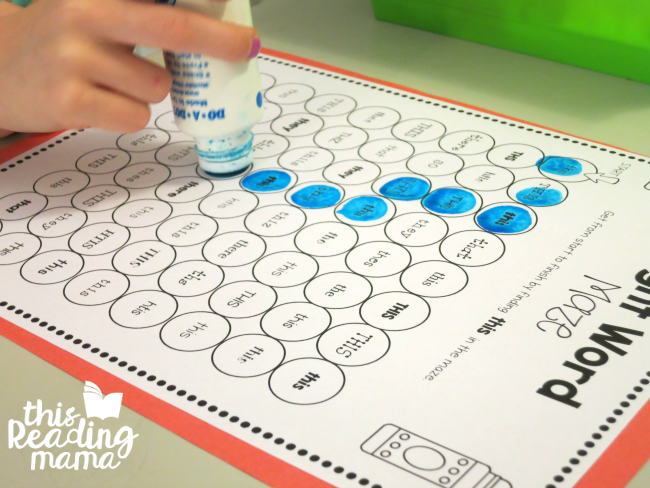 sight word dot mazes from Learn to Read