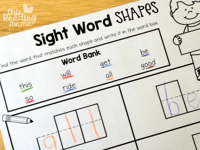 sight word shapes page with colored pencil