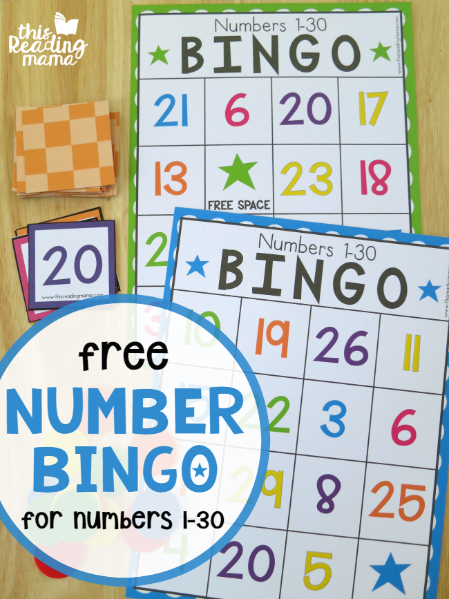 FREE Number BINGO for 1-30 - This Reading Mama