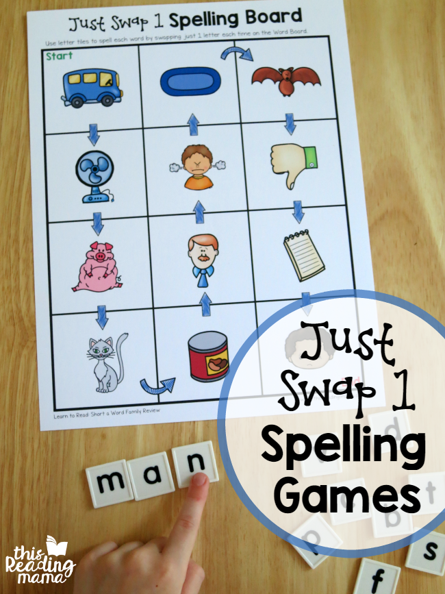 Just Swap 1 Spelling Games from Learn to Read - This Reading Mama